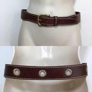 Eddie Bauer brown leather embroidered boho belt S